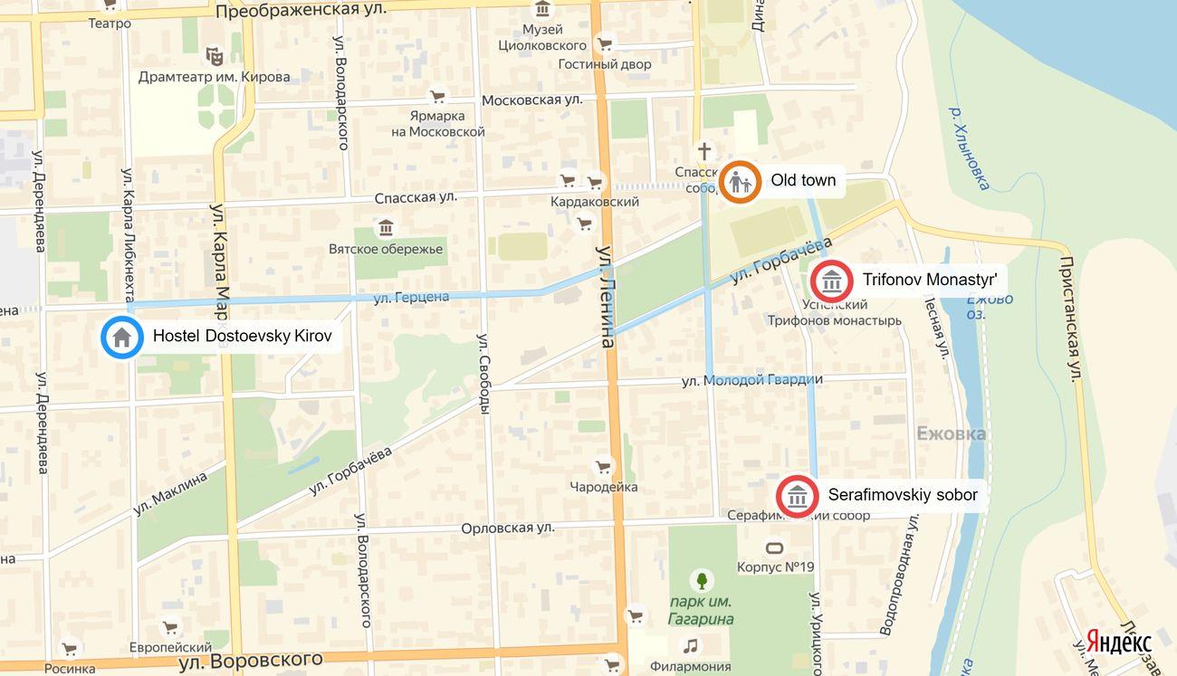 Hostel Dostoevsky Kirov - trip map